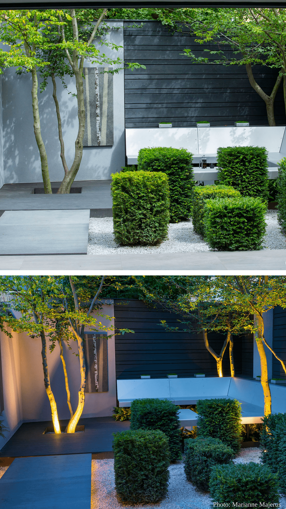 urban garden design lONDON TOP 10 GARDEN DESIGNERS, buxus plants and seating