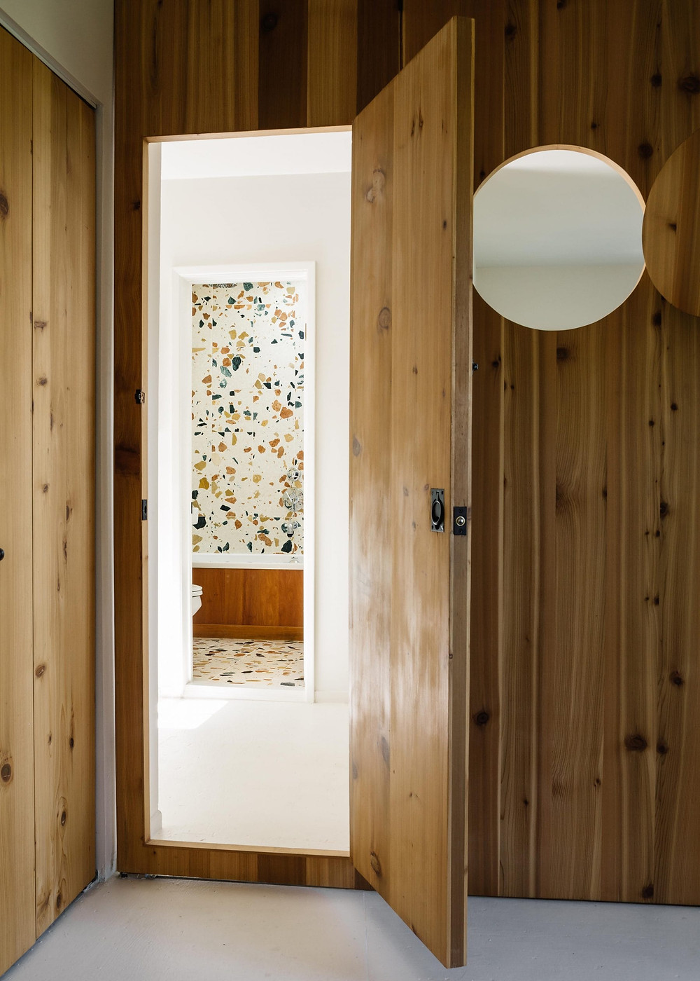 Terrazzo Bathroom for a Laurel Canyon, marmoreal tiles photo Brian W ferry