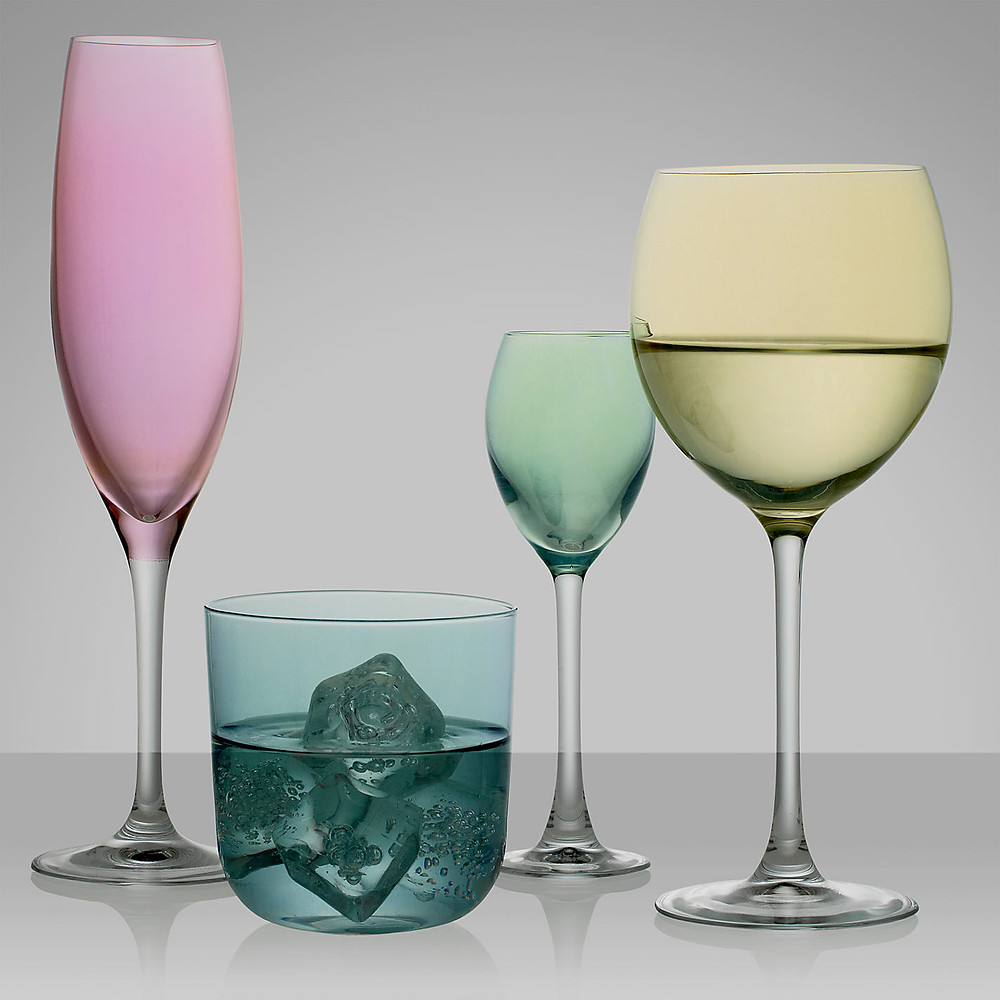 4 pastel wine glasses by LSA International