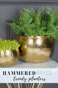 How to decorate with plant pots, brass hammered plant pot