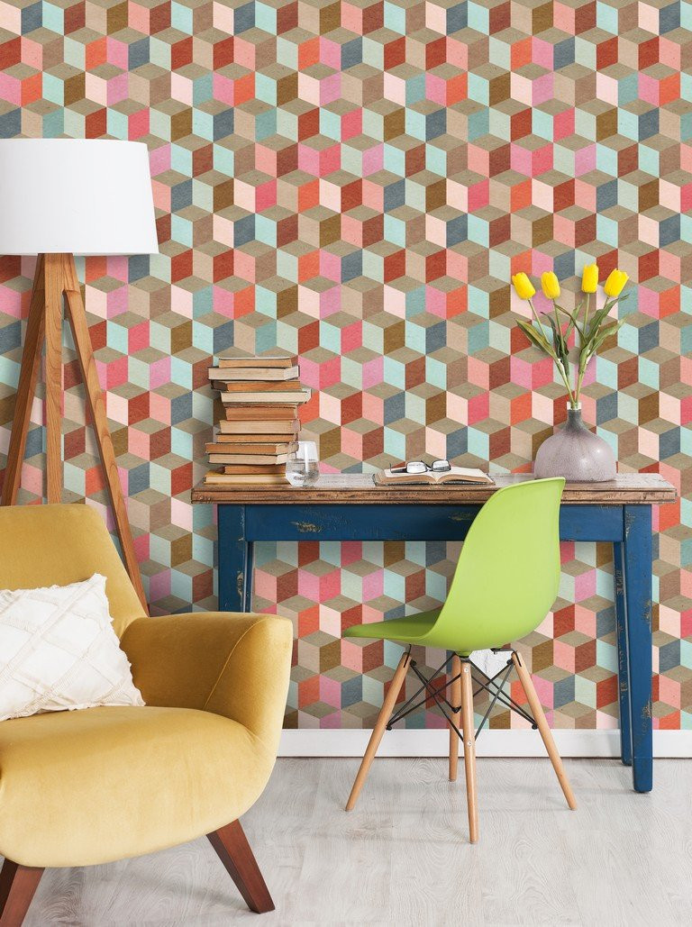 Coloured Geometry from Mind The Gap CUBOID pattern wallpaper