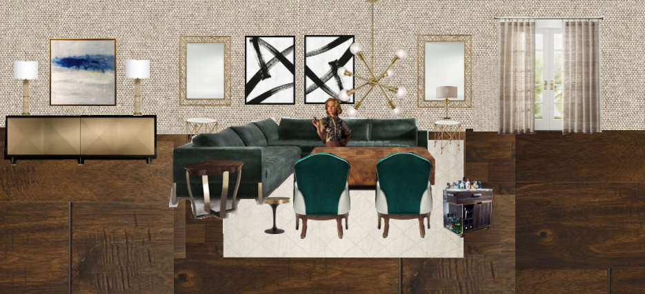 Ginspiration with Juliette Interiors luxury mid century decor with bronze sideboard, green velvet sofa and green armchairs. Abstract art