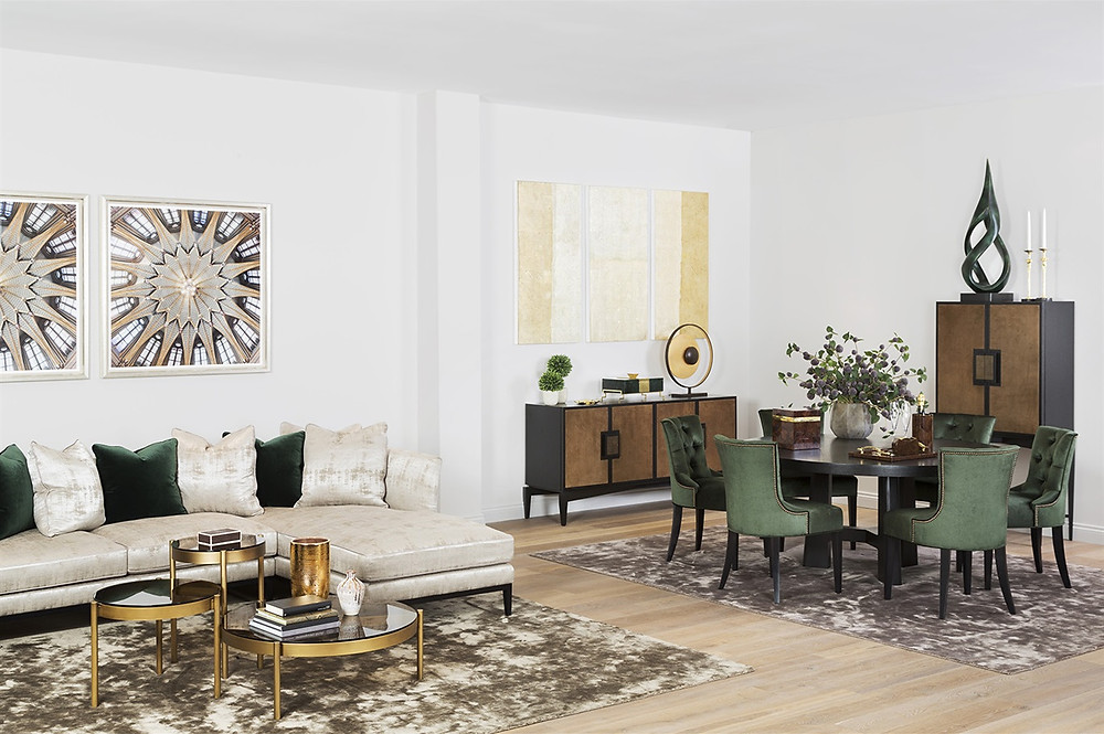 Luxury home decor, living room inspiration with corner sofa in cream, abstract art and dining area with green velvet chairs