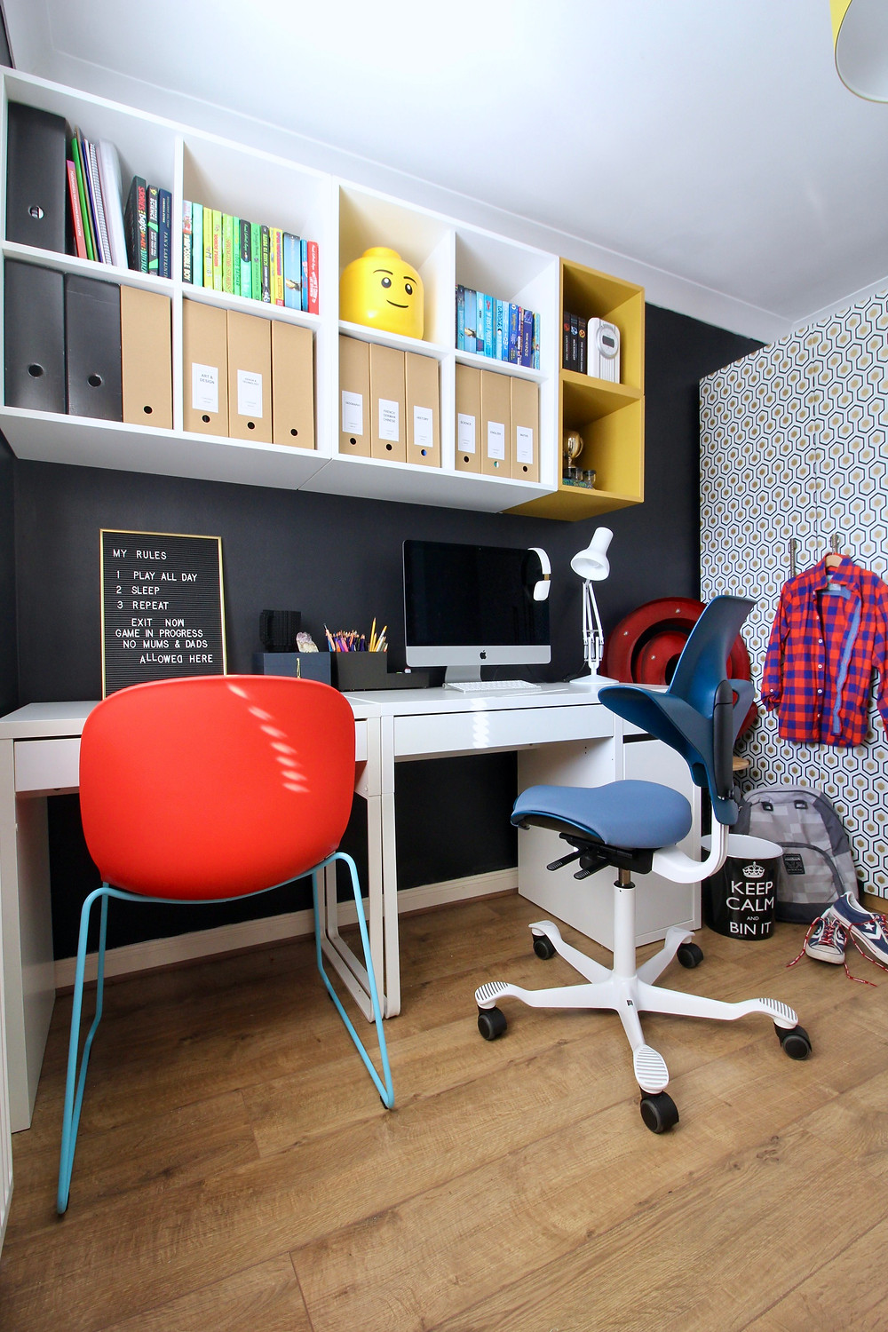 Spare room turned home office for a teenager | seasonsincolour.com interiors blog | wall painted in Dulux Cobalt Night | Flokk Capisco Puls 8020 and PAX Wardrobe ikea hack, IKEA EKET SHELVES