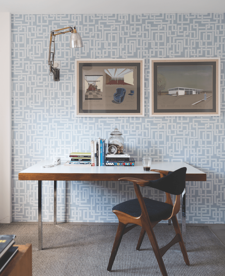 a mid century office with enigma wallpaper from Farrow and Ball