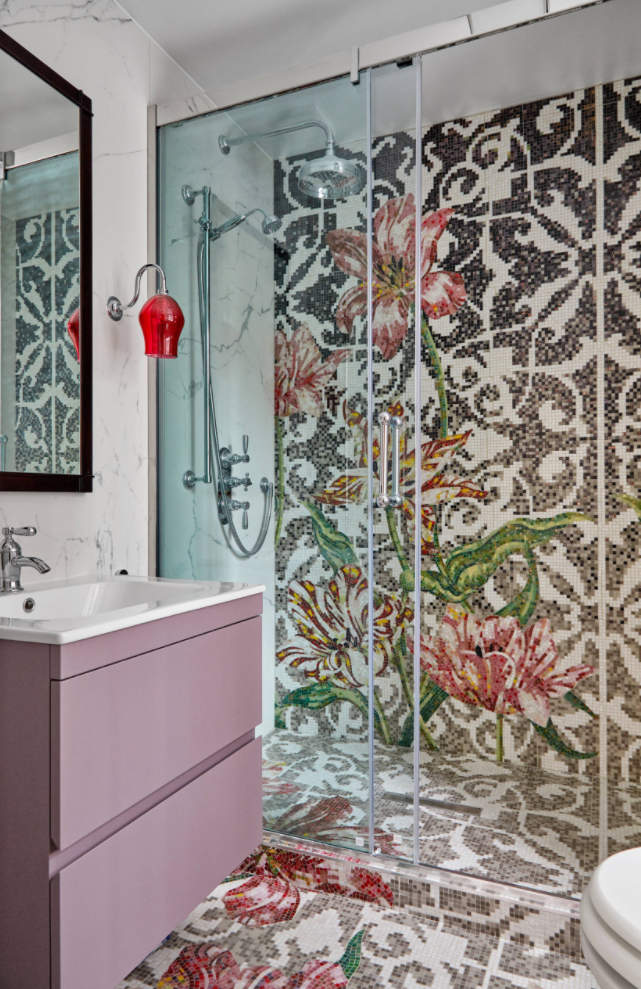 Bisazza mosaic tiles in shower and floor with flower pattern, luxury bathroom renovation by KIA DESIGNS
