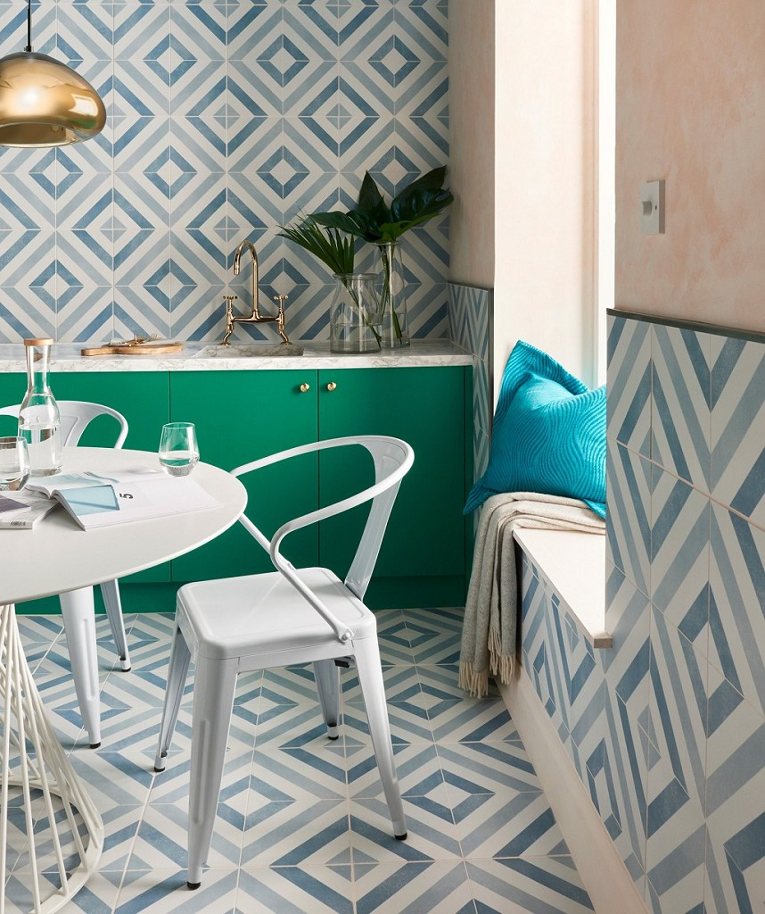 designer look blue and green Striking geometric wall tiles in diamond pattern blue for eclectic decor in the bathroom