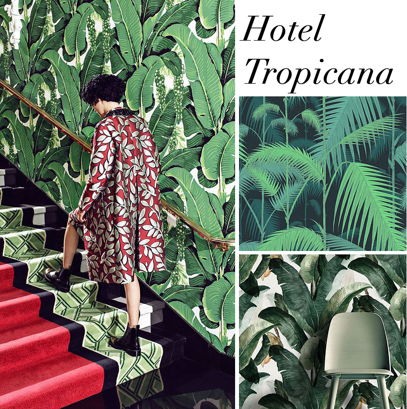 banana leaf wallpaper luxury green interior design