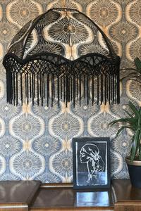 Woodchip and magnolia Anna Hayman BIBANA gold wallpaper pendant light with fringe