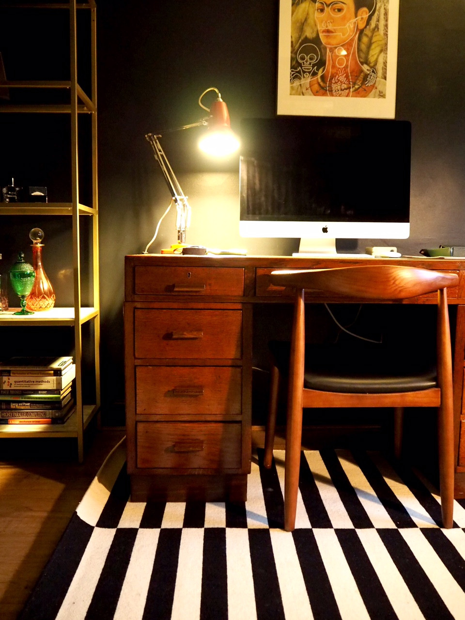 Farrow and Ball Railings wall, mid century desk and chair, red anglepoise lamp and wall art