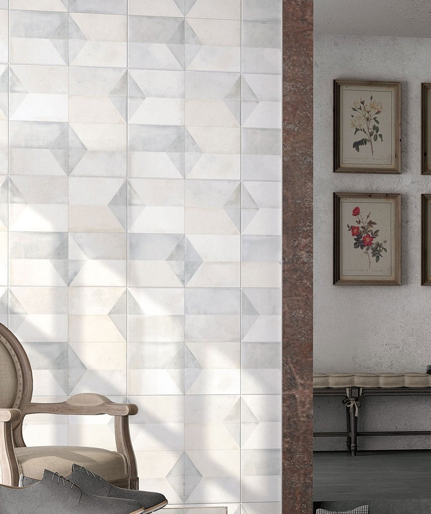 Geometric wall tiles in pastel colours bathroom decor
