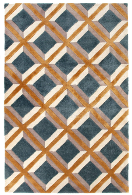 The geometric rug. This wool rug with geometric woven design has contrasting high and low pile giving a three dimensional texture. It is hand tufted with hand spun wool and you can see it in the Tiny bedrooms at Soho House Amsterdam. (Jordaan Rug from £395).