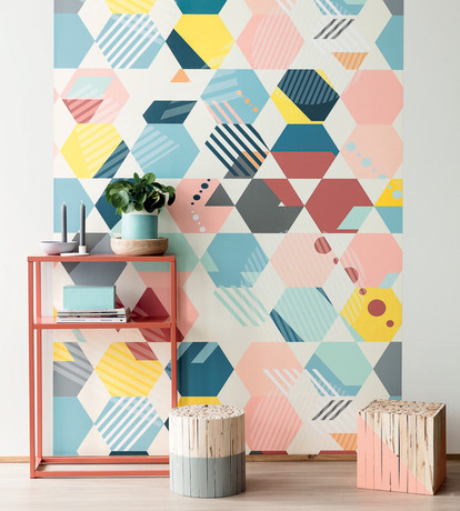 Caselio Mosaique from the Spaces collection which cleverly mixes the geometric pattern and Scandinavian style in an original way