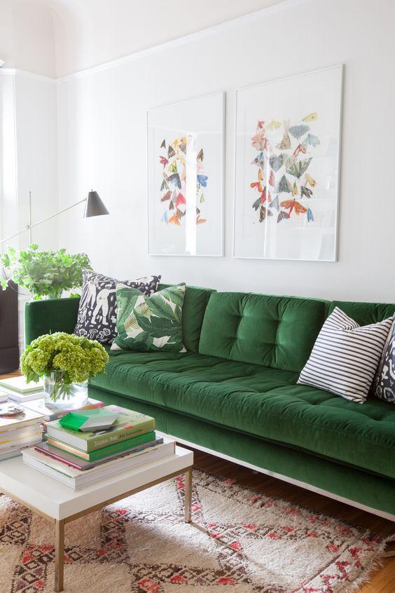 Made.com Scott sofa green interiors artwork mid century