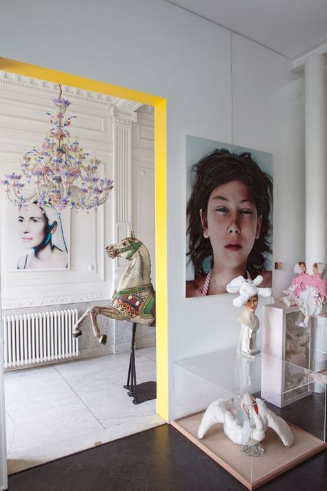 Creative ways to use paint around your home | Door frame with yellow effect painted by hand | Seasons in Colour Interiors Blog