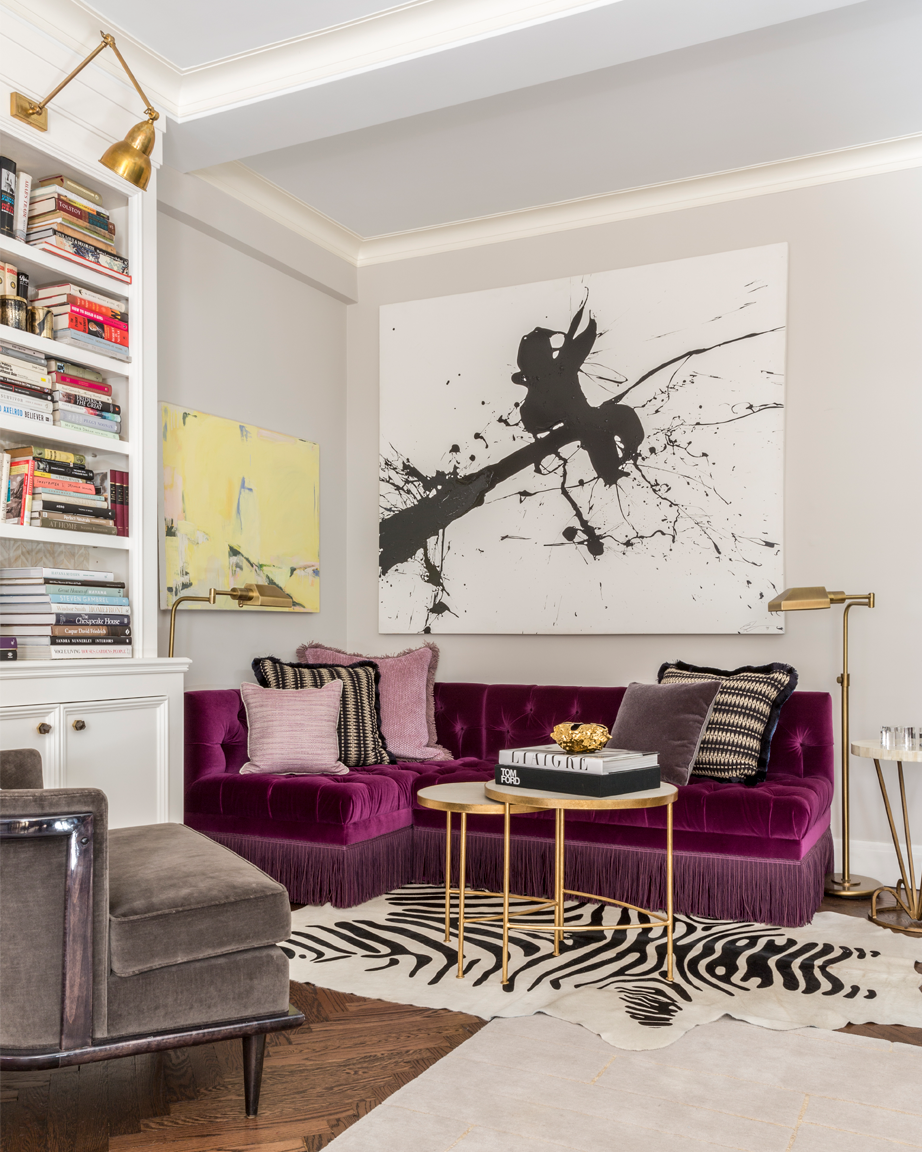 Interior Design practice Marks & Frantz purple sofa with bullion fringe and abstract art