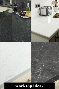 Kitchen worktops London marble effect in black or white