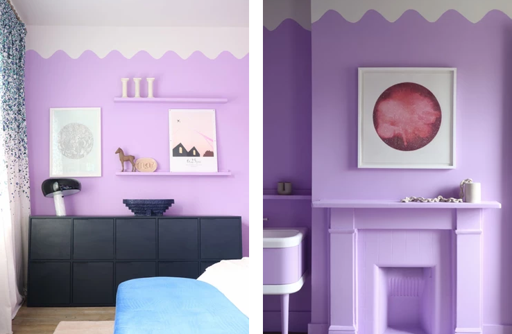 Creative ways to use paint around your home   scallop effect painted by hand close to the ceiling   Seasons in Colour Interiors Blog