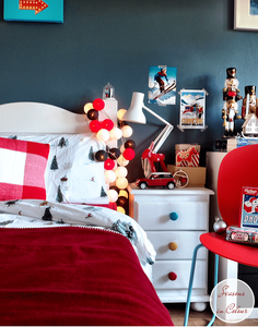 Junior Bedroom Christmas Styling cotton ball lights and skier bed linen chalet decor Dulux Steel Symphony 1