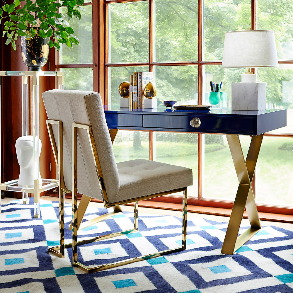 Luxury home office by Jonathan Adler Brass chair and table
