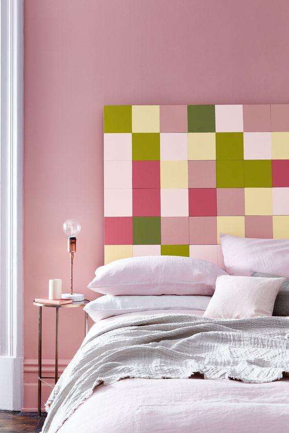 bedroom in pink Hellebore 275, Olive Colour 72, Carmine 189, Citrine 71, Lemon Tree 69, Pink Slip 220 & Loft White 222