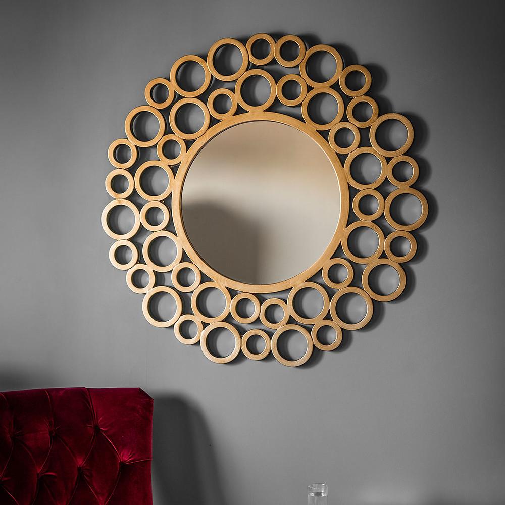 Round mirror gold