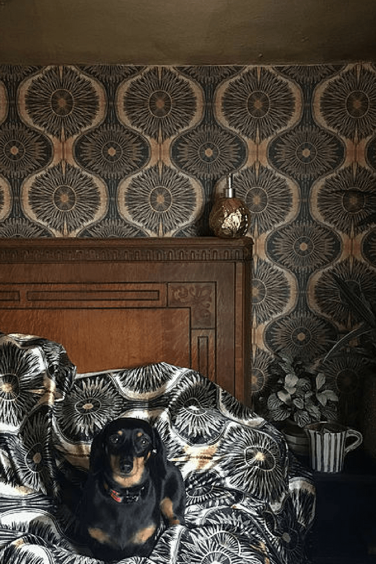Woodchip and magnolia Anna Hayman BIBANA gold wallpaper eclectic dark bedroom decor