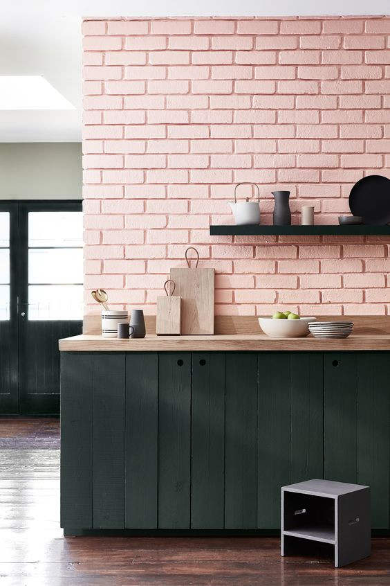 kitchen painted in Little Greene Confetti and Lamp Black