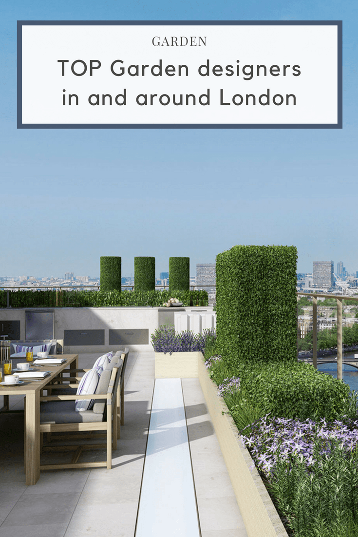 Top 10 Garden Designers in and around London, garden design, rooftop, terrace, formal gardens and lighting. Rooftop terrace with buxus plants