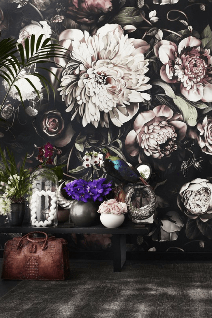 15 best floral wallpapers for a moody look - how to decorate your interiors with moody floral wallpaper Ellie Cashman