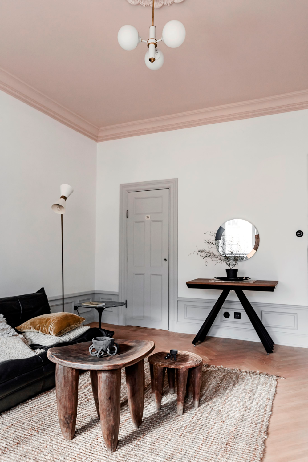 Creative ways to use paint around your home   Pink painted ceiling   Seasons in Colour Interiors Blog