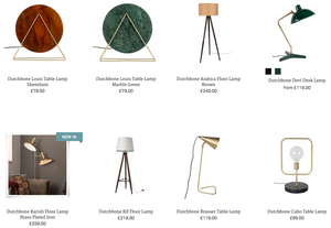 Dutchbone table and floor lamps at Houseology