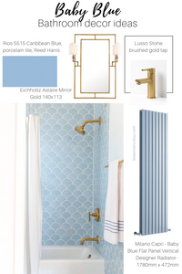 radiators in blue bathroom decor ideas