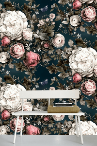 15 best floral wallpapers for a moody look - how to decorate your interiors with moody floral wallpaper Ellie Cashman - Summer Squall in midnight blue