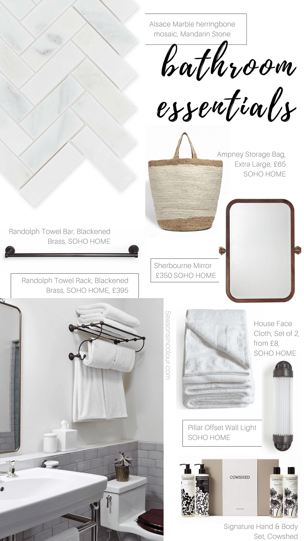 bathroom essentials look with black accents, marble herringbone tiles, the sHERBOURNE mirror from Soho Home