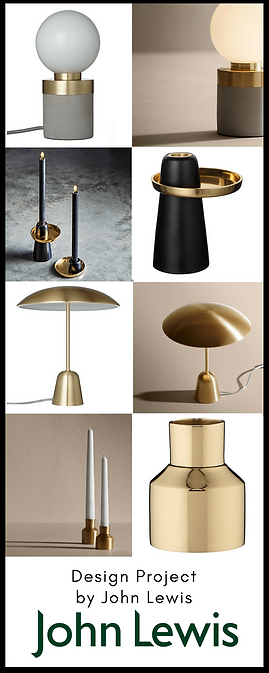 The John Lewis Design project Collection has orignal products including brass lamps and candlesticks that are inspired by Scandinavian design and work well in mid cenury or Scandi interiors