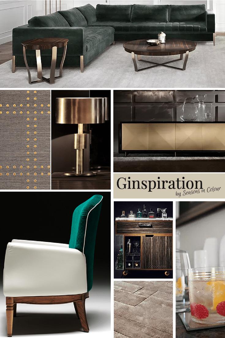 Moodboard for luxury midcentury decor Ginspiration bronze lamp and velvet corner sofa