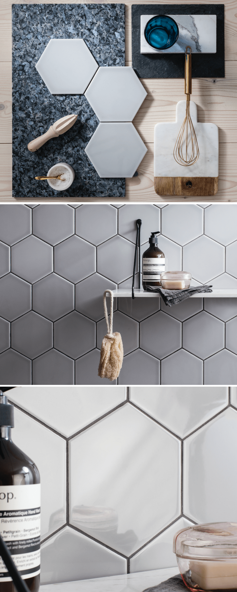 Hex tiles in off white colour mood board Gemini Tiles
