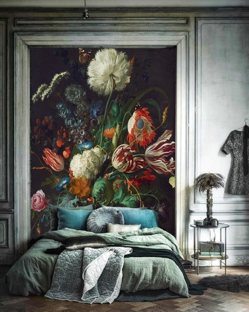 Bohemian style bedroom decor parisian apartment with a bold vintage dutch oil painting mural behind the bed