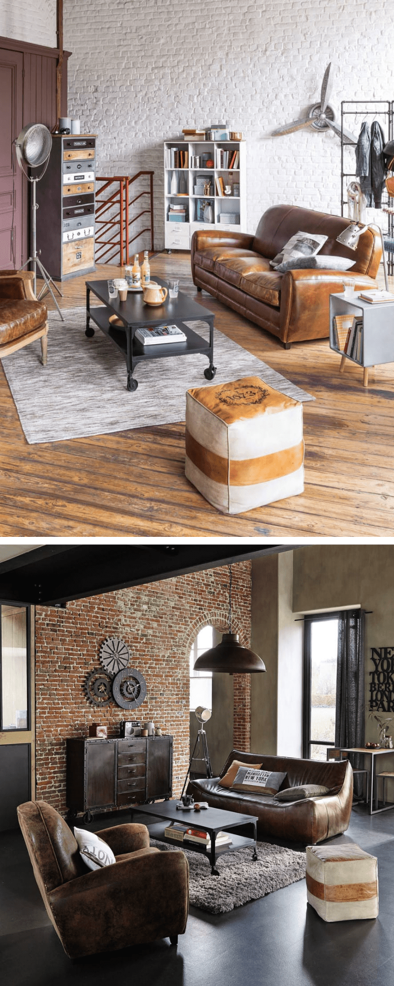 Goatskin Leather and Cotton Pouffe (£87, Maisons du Monde) industrial style loft decor