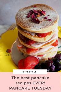 The best pancake recipes ever by Seasons in Colour. A tall stack of pancakes with pink yogurt and strawberries
