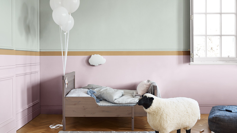 Spiced Honey is the Dulux Colour of the Year 2019 in a kids room with pastel colour blocking