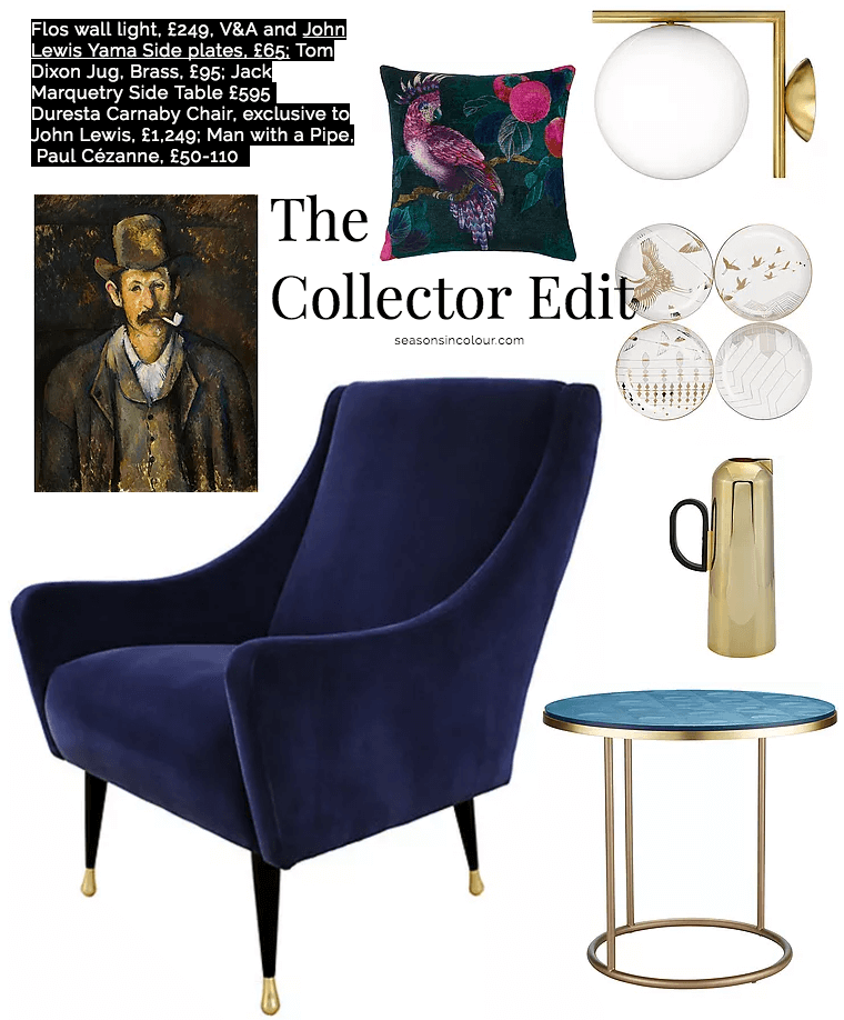 John Lewis Collector edit Duresta Carnaby chair blue and Flos wall light