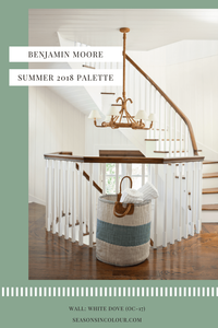 How to paint a classic staircase with dark walnut banister and an eclectic coastal inspired chandelier. Walls in White Dove wall paint by Benjamin Moore