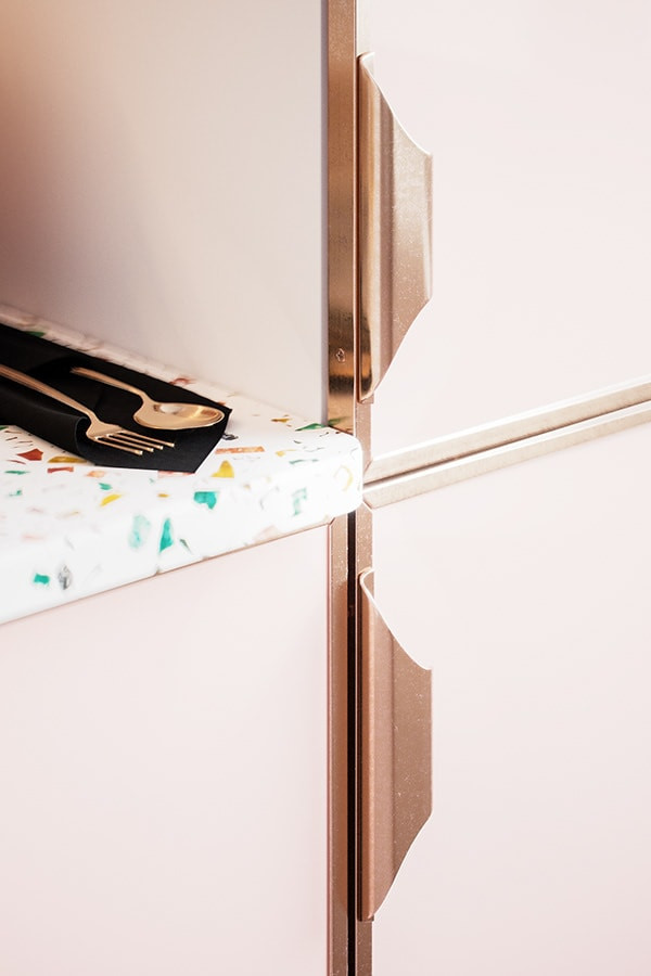 candy pink kitchen cabinets and tutti frutti terrazzo worktop rose gold metal