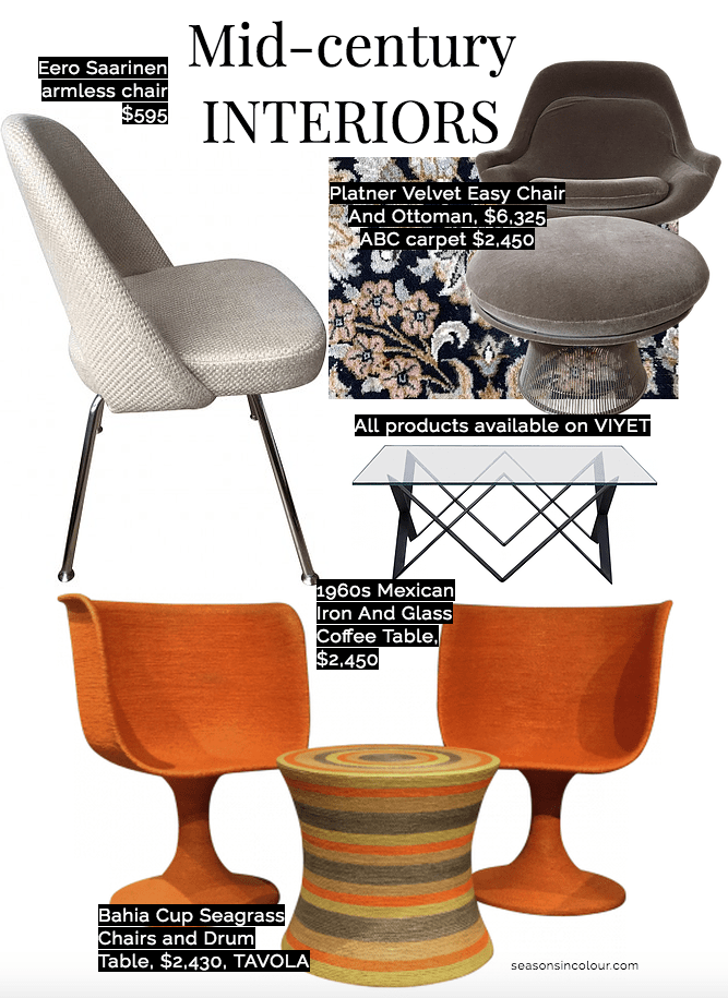 mid century furniture with grey Platner chair and ottoman, a Saarinen armless chair and vintage carpet and rug, Tavola Bahia set