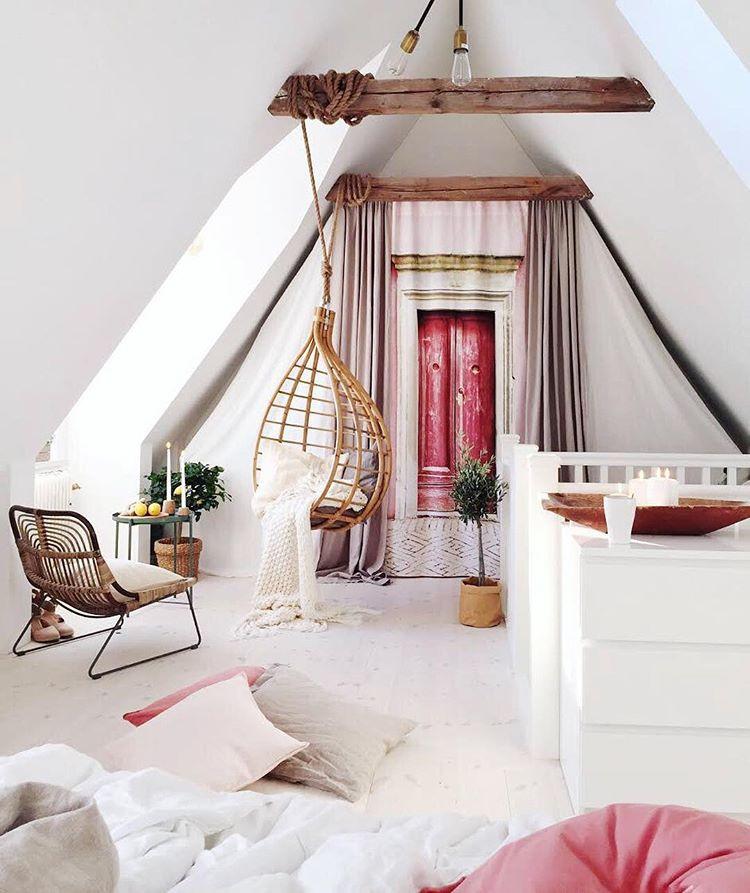 Loft conversion romantic bedroom in pink