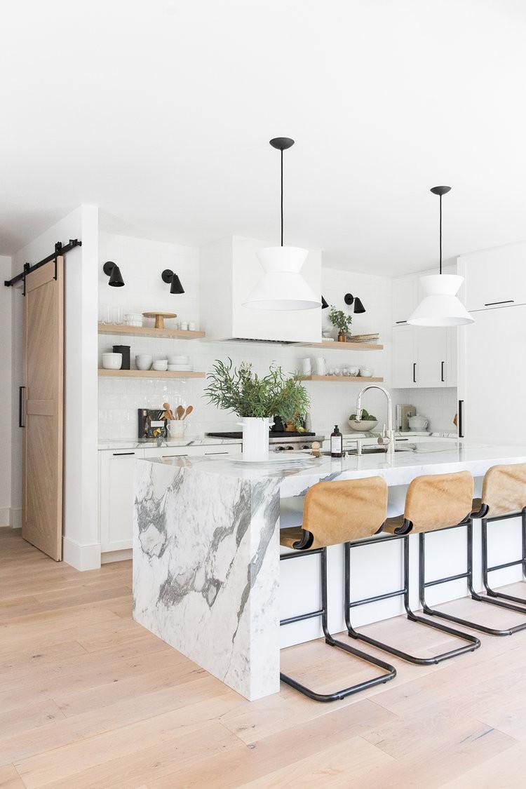 20 White Kitchen Design Ideas white cabinets in kitchen studio mcgee pendants over the island