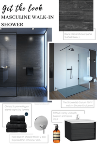 masculine walk in shower look with black accents