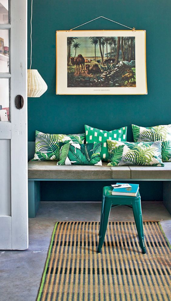 teal wall green cushions interiors floral